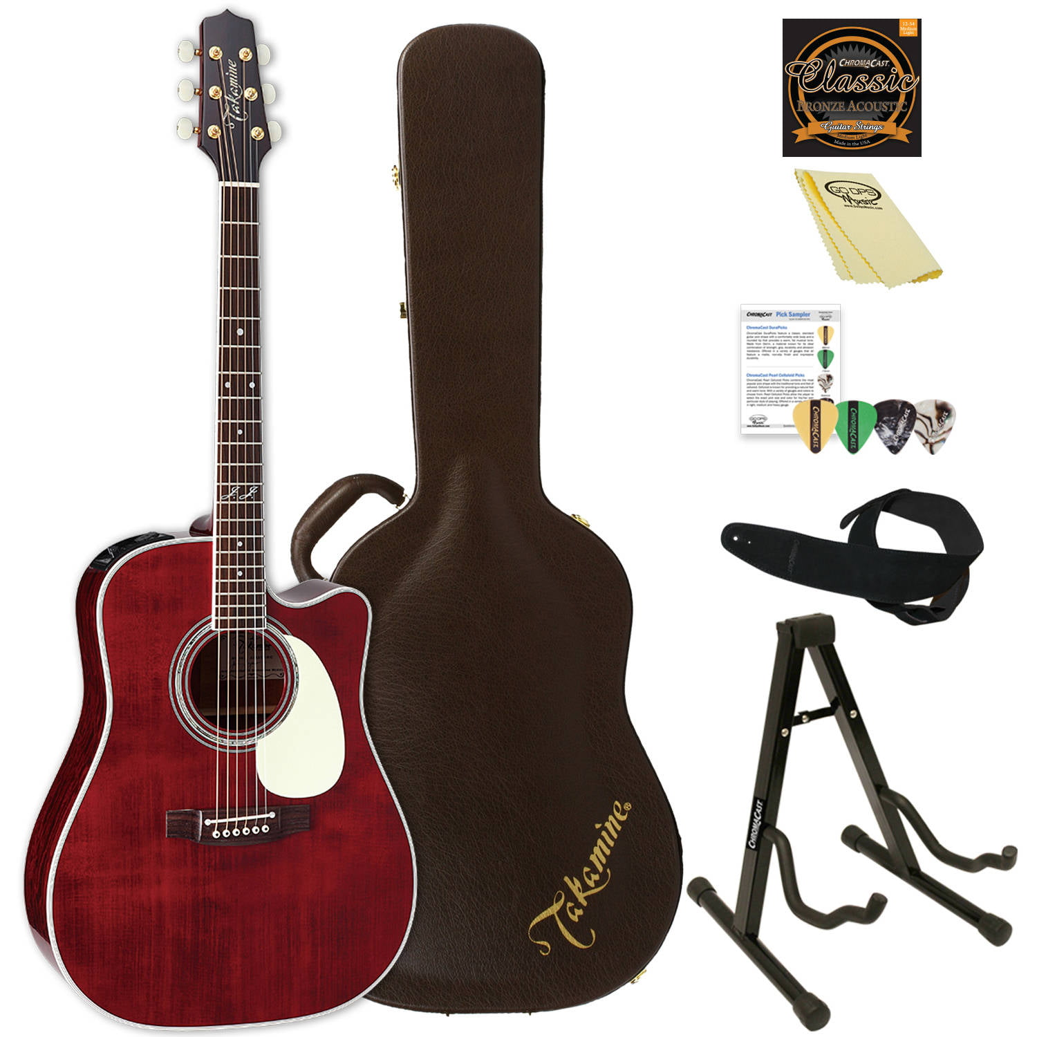 Takamine John Jorgenson Signature Acoustic-Electric Guitar with Hard Case and ChromaCast... by