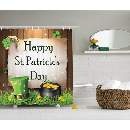 Happy St. Patrick Day Irish Shamrock Leaf Lucky Clovers Horseshoe Shower Curtain