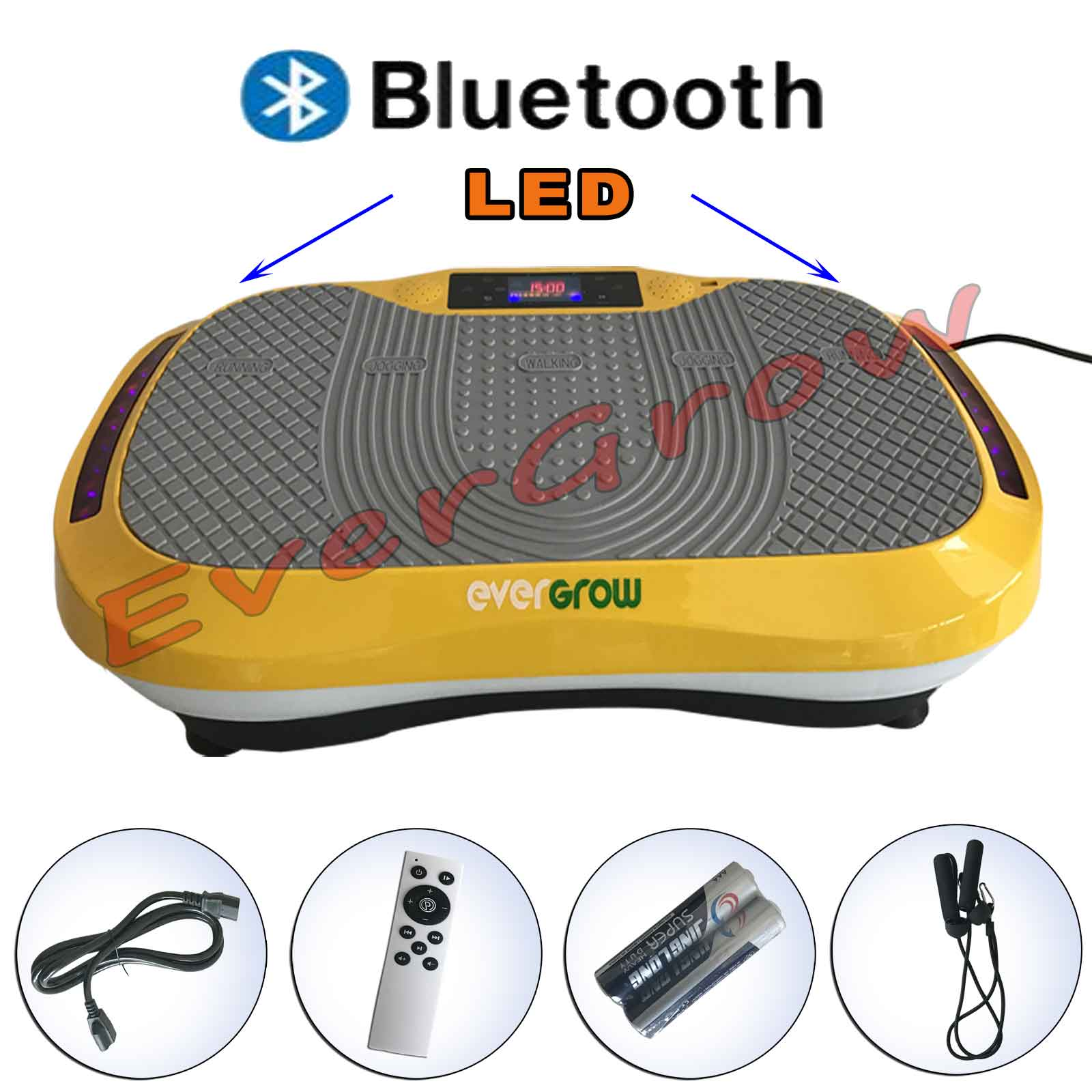 Vibration Platform Plate Whole Body Massager Machine Slim Exercise Fitness Bluetooth Music Gold (VIBRATIONPLATE-GOLD)