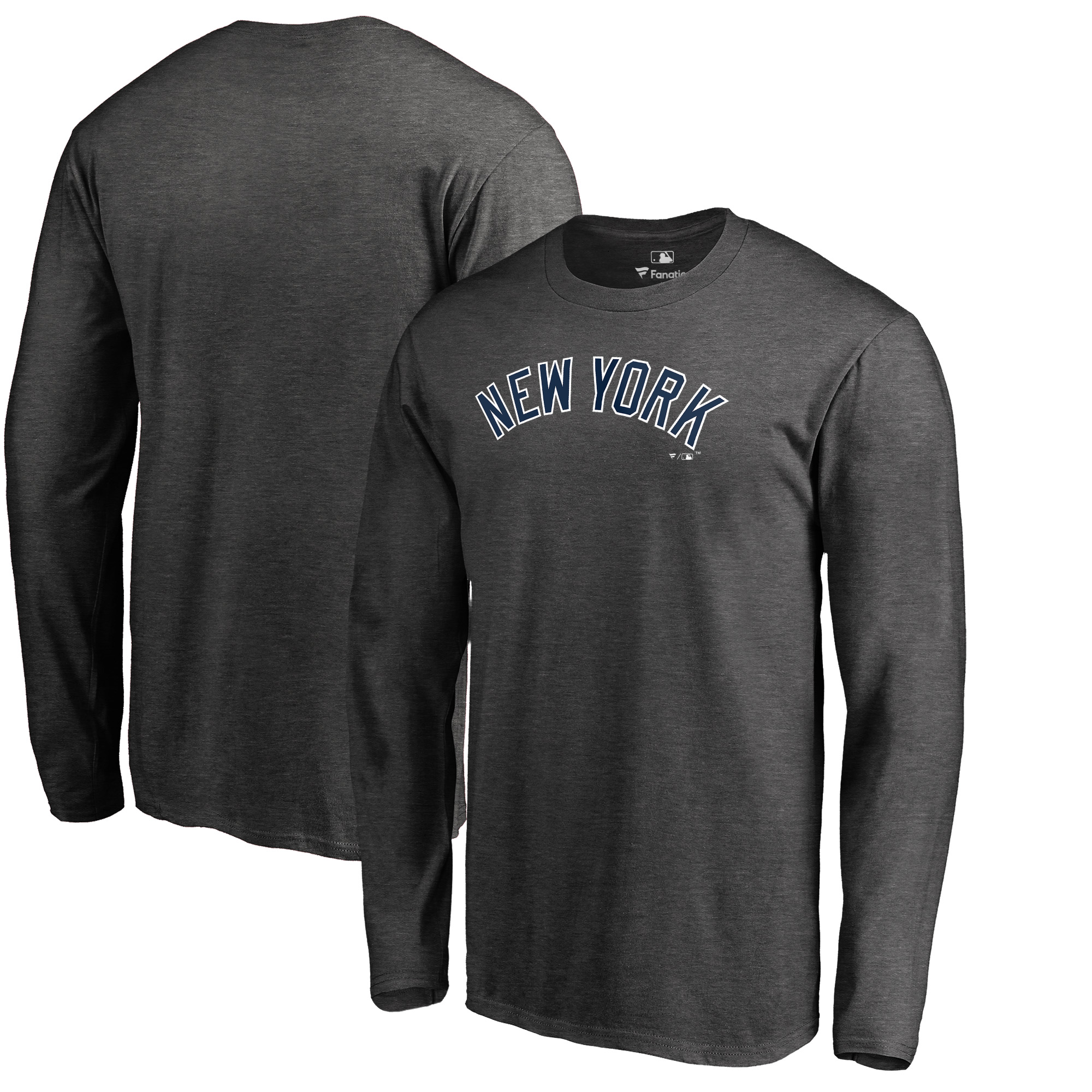 New York Yankees Fanatics Branded Big & Tall Team Wordmark Long Sleeve T-Shirt - Heathered Charcoal