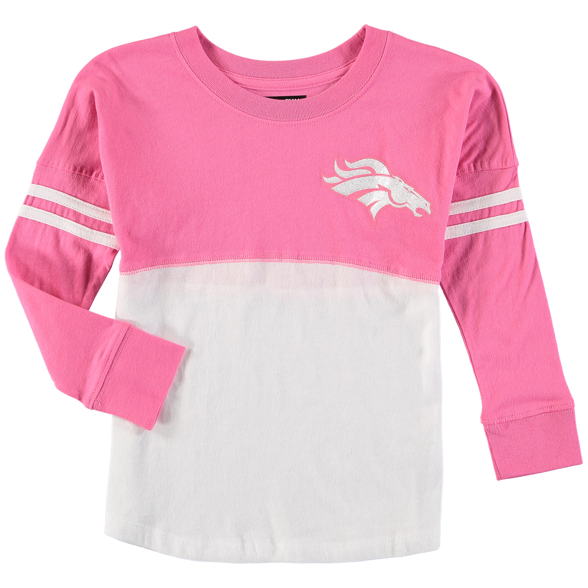 Denver Broncos 5th & Ocean by New Era Girls Youth Varsity Crew Long Sleeve T-Shirt - White/Pink