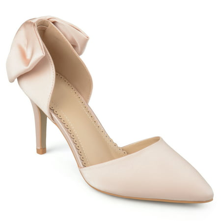 Womens Satin D'orsay Pointed Toe Bow Pumps