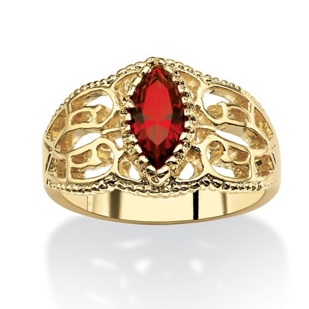 Marquise-Cut Birthstone Filigree Ring in 14k Gold-Plated Finish - February- Simulated Amethyst