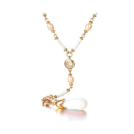 - Novadab Luna Shell Pearl Lux Long Chain Necklace