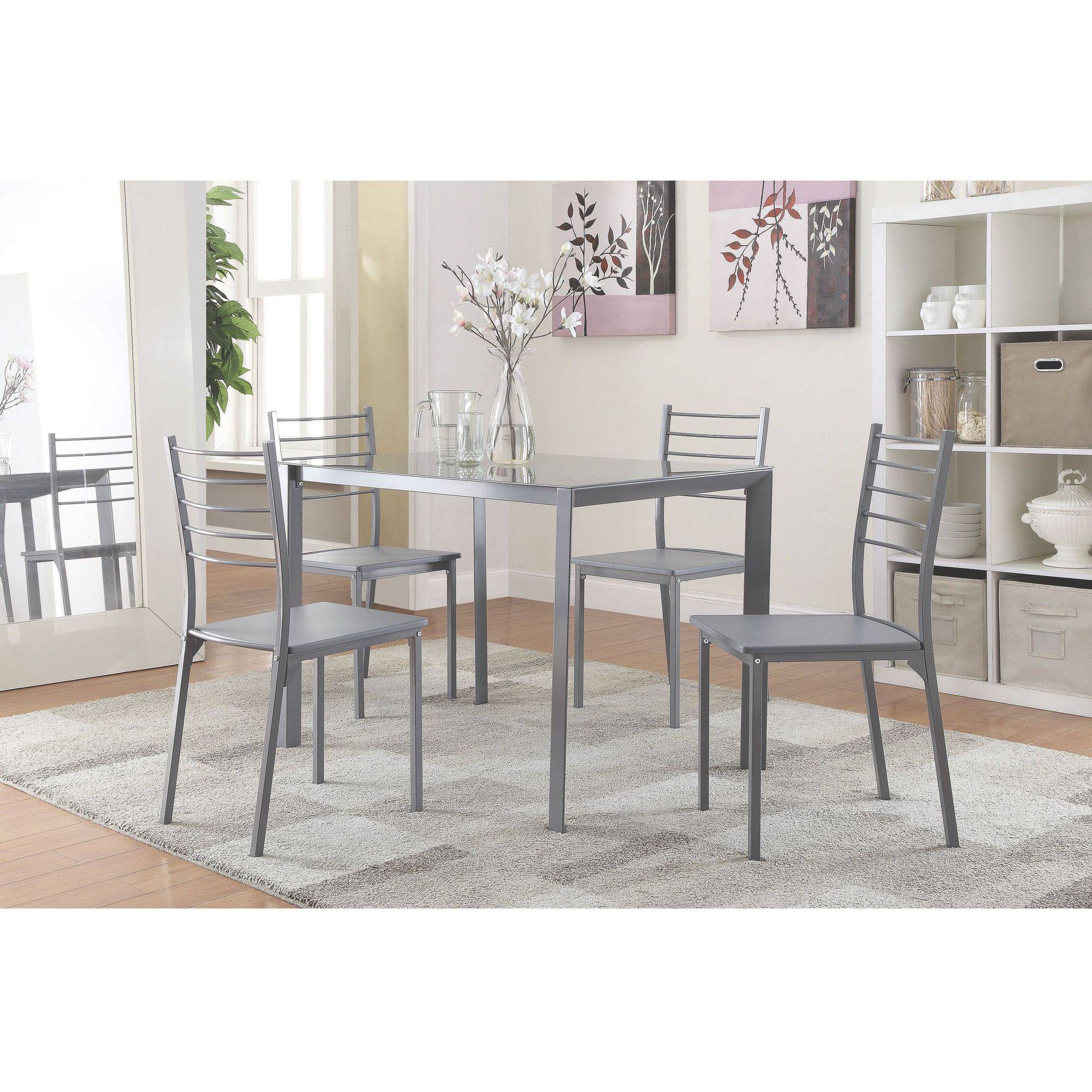 Coaster 5 Piece Glass Top Dining Set In Gray