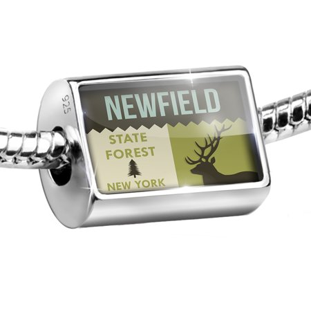 Sterling Silver Bead National Us Forest Newfield State Forest Charm Fits All European Bracelets