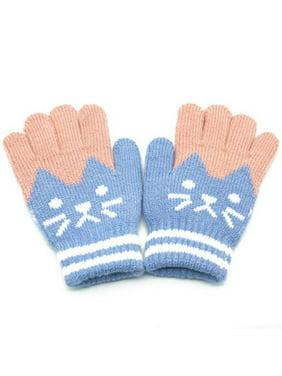 AkoaDa Children's Cartoon Gloves Winter Cold Warm Kitten Fashion Cute Points Finger-Like Cashmere Knitted Gloves
