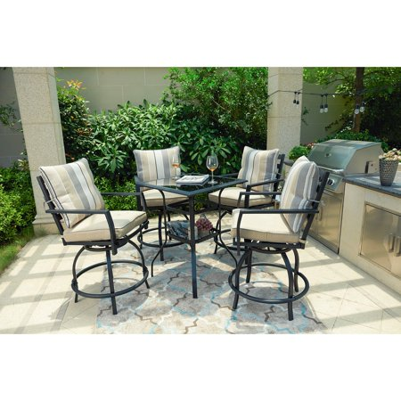 Every Season Steel 5 Piece Swivel Bar Height Patio Dining Set