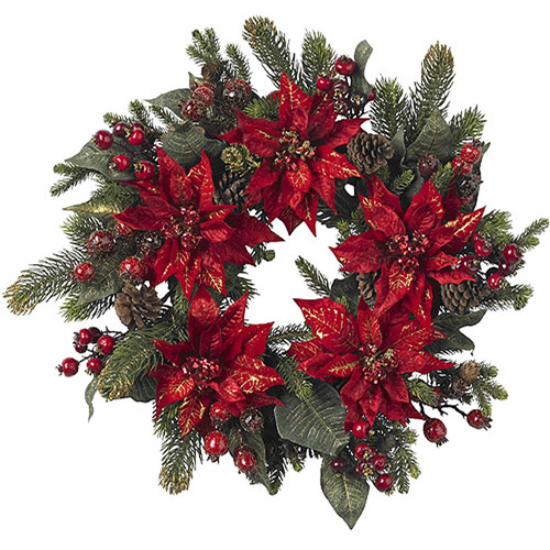 Poinsettia and Berry Wreath