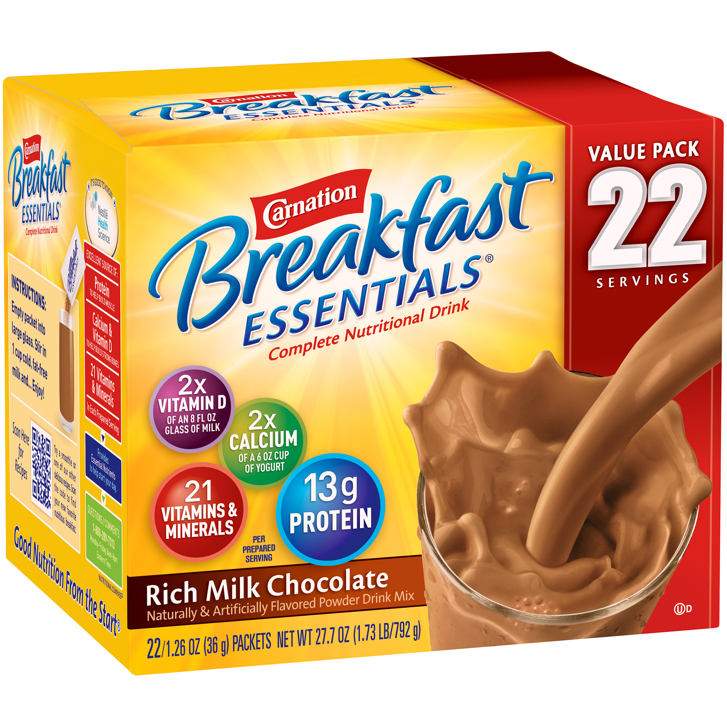 Carnation Breakfast Essentials�� Rich Milk Chocolate Complete Nutritional Drink Mix, 1.26 oz, 22 count