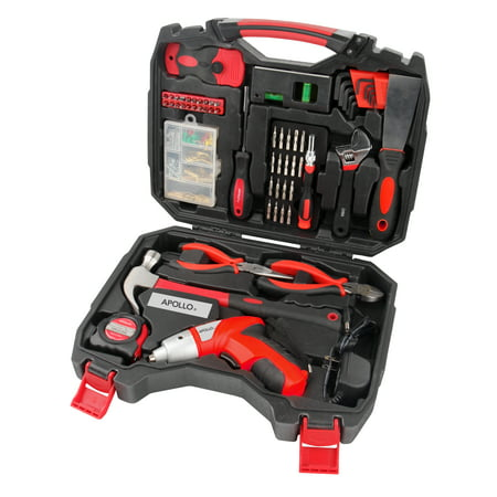 Apollo Tools DT4929 160-Piece Household Tool Kit with 4.8V Cordless Screwdriver Cordless Drywall Screwdriver Kit