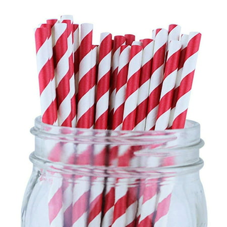 Powder Straws (Just Artifacts Decorative Striped Paper Straws (100pcs, Striped, Red))