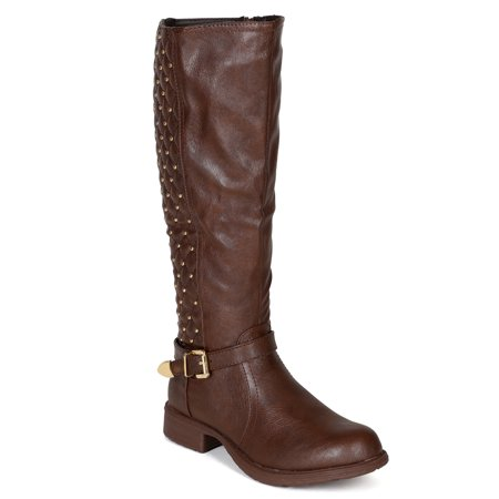 Bumper BF71 Women Leatherette Quilt Studs Strap Riding Calf High Boot