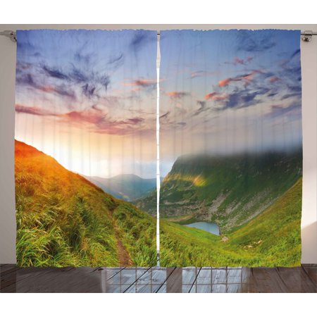 Mountain Curtains 2 Panels Set, Majestic Sunrise in Hills Mottled Clouds Fresh Grass Serenity Morning Mist, Window Drapes for Living Room Bedroom, 108W X 84L Inches, Blue Green Orange, by Ambesonne (Hill Living Room)