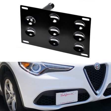 iJDMTOY Euro Front Bumper Tow Hole Adapter License Plate Mounting Bracket For 2018-up Alfa Romeo Stelvio
