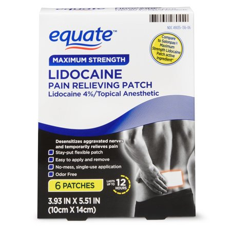 Equate Maximum Strength Lidocaine Pain Relieving Patch, 6 Count