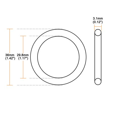 O-Rings Nitrile Rubber 29.8mm x 36mm x 3.1mm Seal Rings Sealing Gasket 10pcs - image 1 of 3