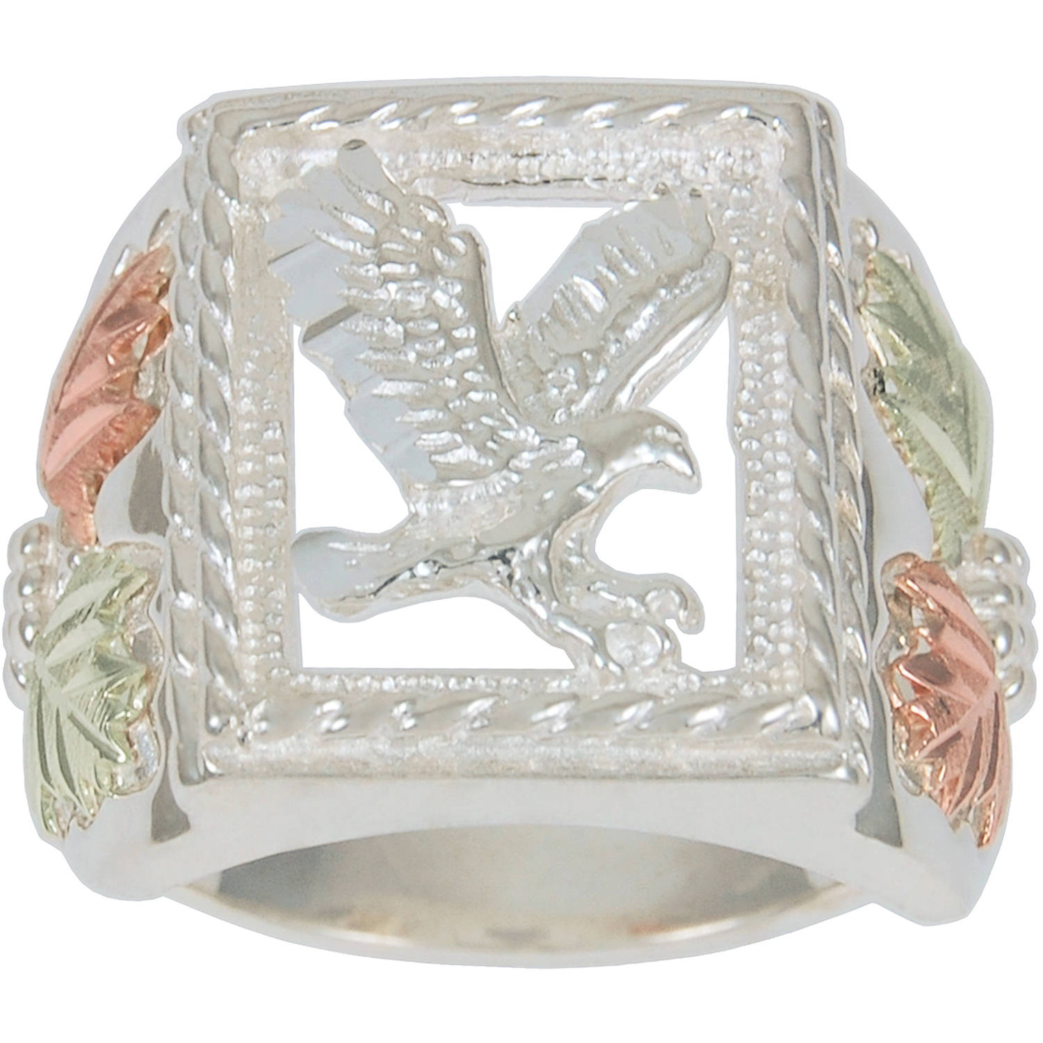 Black Hills Gold Men's Sterling Silver 12kt Leaf Accented Eagle Ring