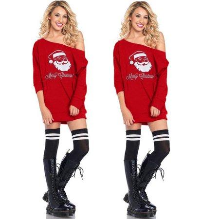 Fancy Dress Online Next Day Delivery (Women Cold Shoulder Santa Claus Costume Dress Christmas Fancy)