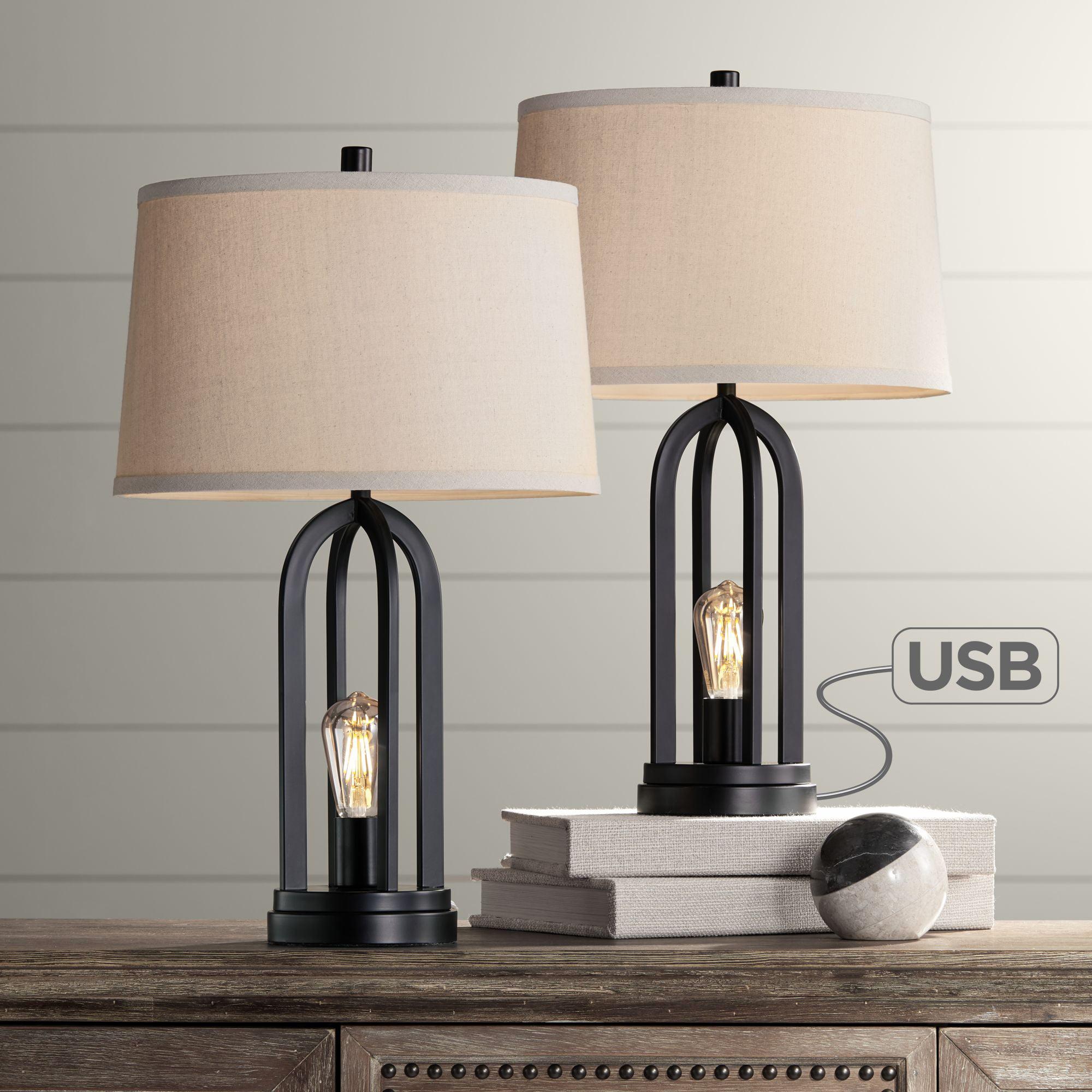 360 Lighting Modern Table Lamps Set Of 2 With Nightlight Led Usb Port Black Linen Shade For Living Room Bedroom Com