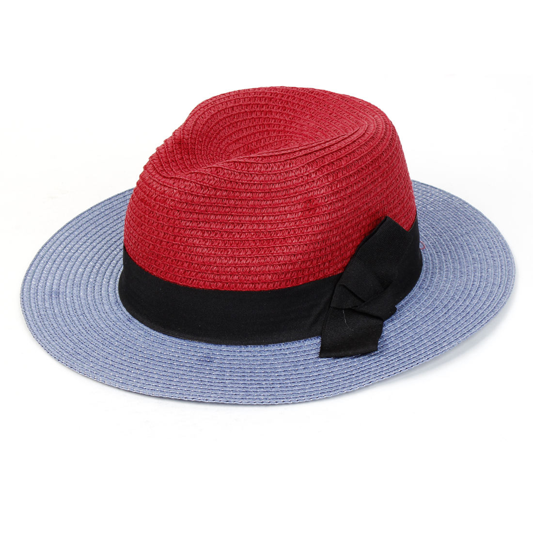 Unique Bargains Woman Camping Walking Red Nylon Woven Bow Tie Straw Beach Hat