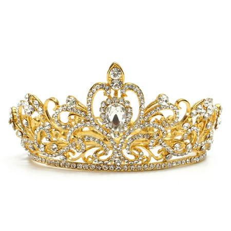 Luckefine Crystal Rhinestone King Crown Tiara Wedding Pageant Bridal Headpiece Jewelry - King Of Hearts Crown