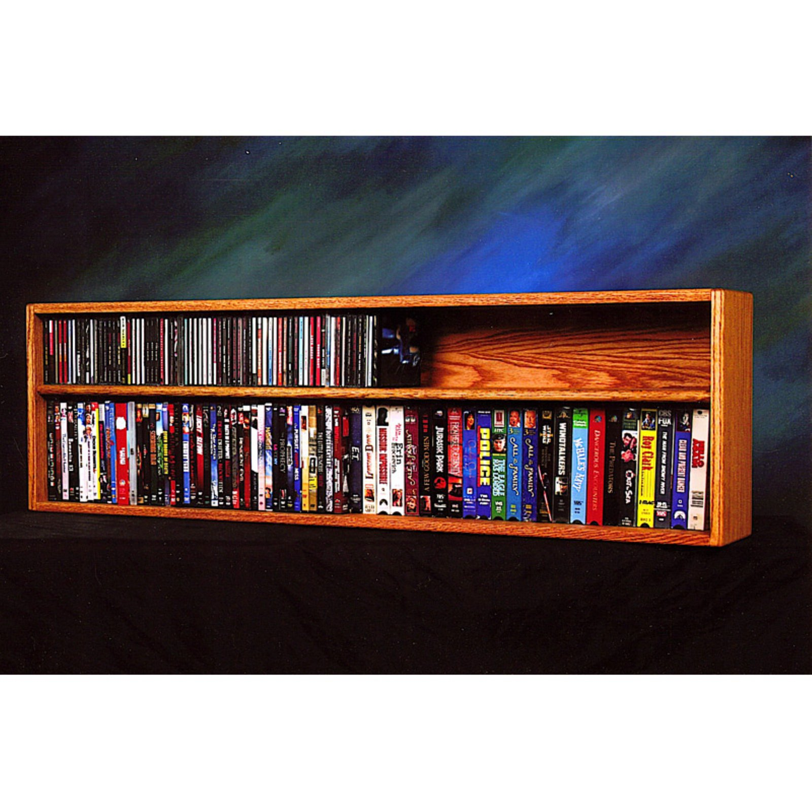 The Wood Shed Solid Oak Wall / Shelf Mount 118 CD and 86 DVD / VHS Tape Media Cabinet