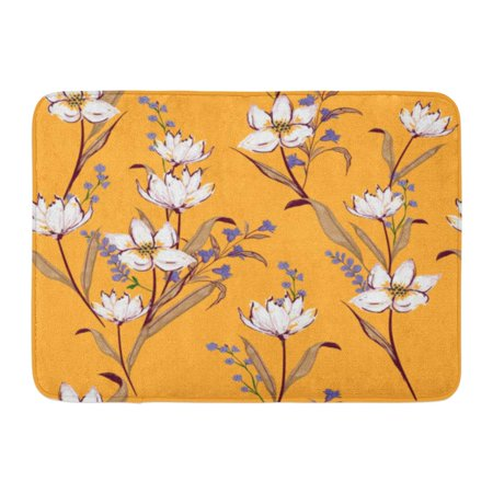 YUSDECOR Little Pink Floral Blooming White Flowers Botanical Motifs Scattered Random Elegant with Orange Small Rug Doormat Bath Mat 23.6x15.7 inch - image 1 de 1