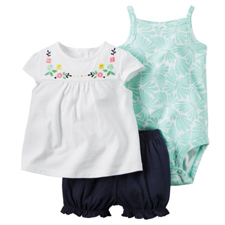 (Carters Baby Clothing Outfit Girls 3-Piece Bodysuit & Diaper Cover Set Embroidered Floral)
