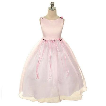 Kids Dream Little Girls Pink Rosebud Organza Flower Dress 10](Pink Dresses Girls)