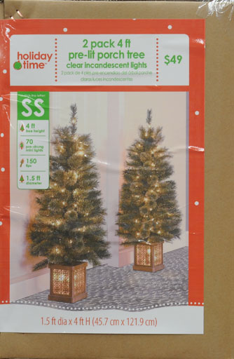 Holiday Time 2pk 4ft Porch Artificial Tree - Walmart.com