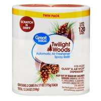 Great Value Automatic Air Freshener Spray Refill, Twilight Woods , Twin Pack, 12.34 oz