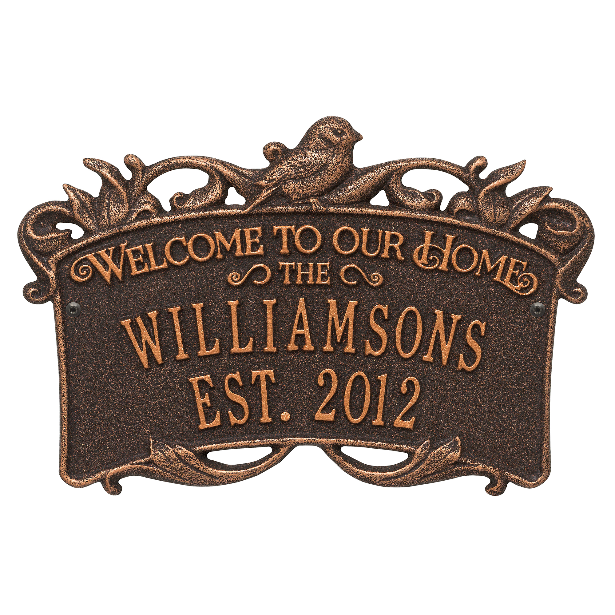 Personalized Songbird Welcome Plaque in Oil Rubbed Bronze