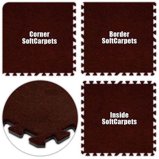 Alessco SCBY1214 SoftCarpets -Burgundy -12  x 14  Set - Pack of 8