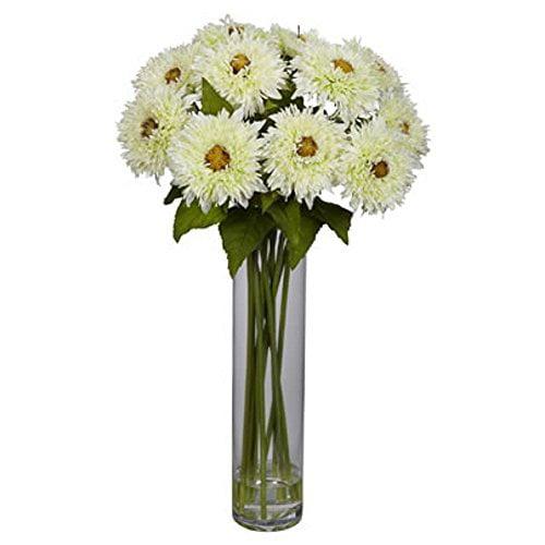 White Sunflowers With Cylinder Silk Flower Arrangement Walmart Com Walmart Com