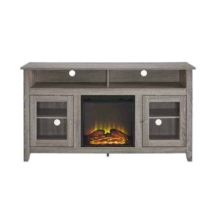 "WE Furniture 58"" Wood Highboy Media Fireplace TV Stand Console"