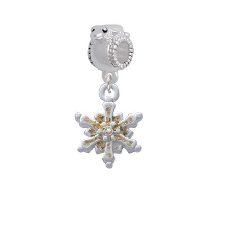 White Snowflake with Glitter and Clear AB Crystal - Frog Charm Bead
