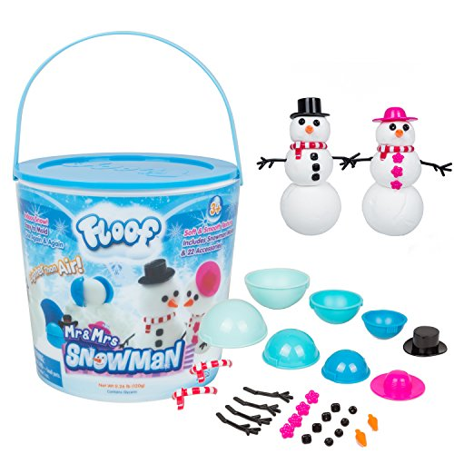 Floof Modeling Clay - Reuseable Indoor Snow - Mr. & Mrs Snowman Set With Endless Creations and 22 Molding Accessories.