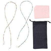 "2 pcs Beaded Eye Glasses Retainer, Eyewears Chain, Cord Holder Strap with Beads, Microfiber Cloth and Polyester Pouch, for Sunglasses, Reading Glasses, Spectacles for Adults Kids, 27"" Chain Length"