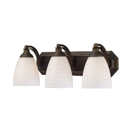 Bathroom Vanity 3 Light With Aged Bronze Finish White Swirl Glass Medium Base 20 inch 180 Watts - World of Lamp