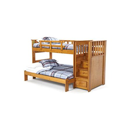 Woodcrest Front Loading Stairway Bunk Bed Honey Twin Over Full Bed