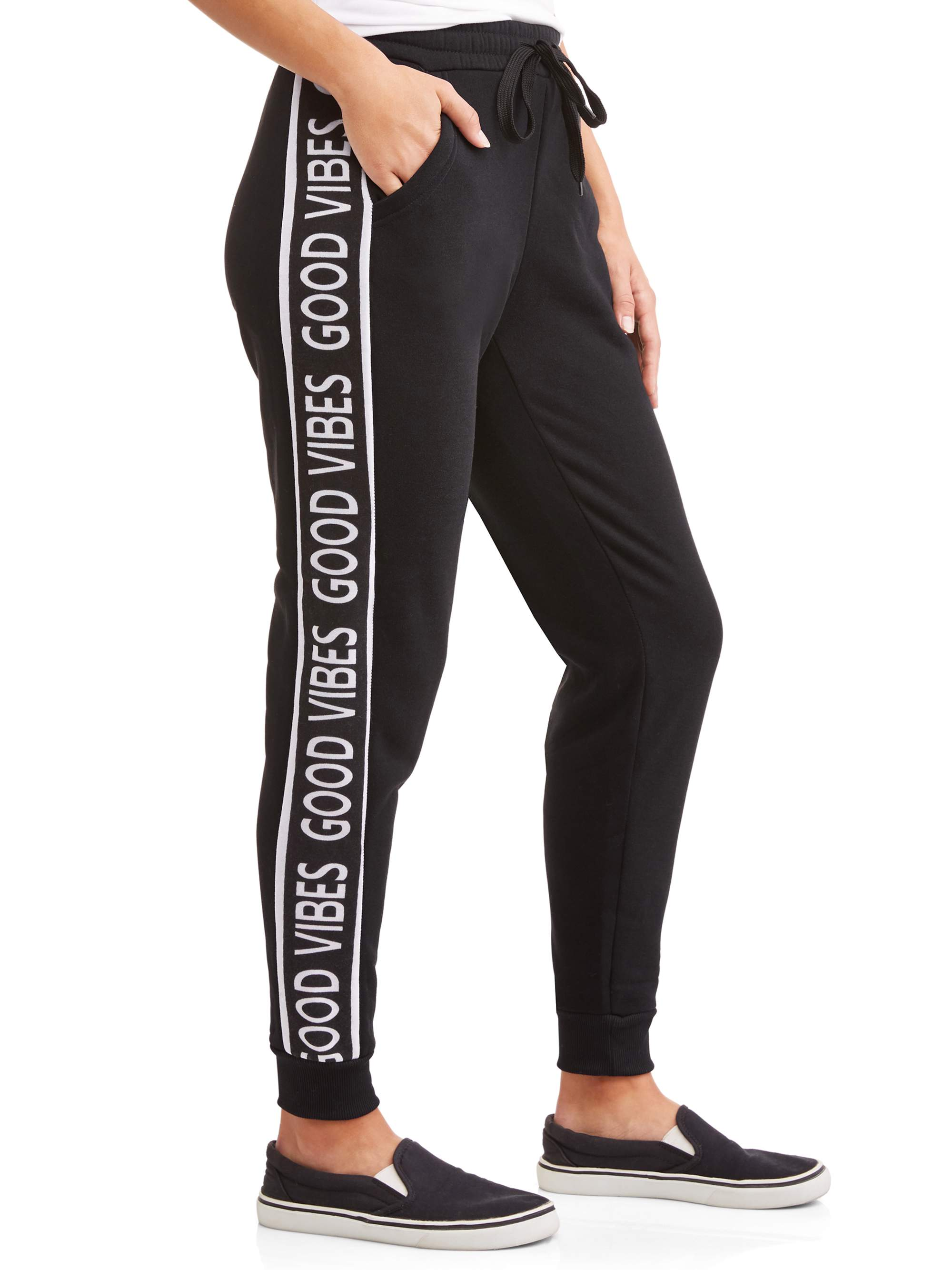Juniors' Fleece Side Graphic Drawstring Joggers