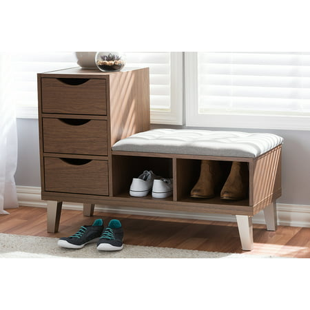 Baxton Studio Arielle Walnut Wood 3-Drawer and Grey Fabric Shoe Bench