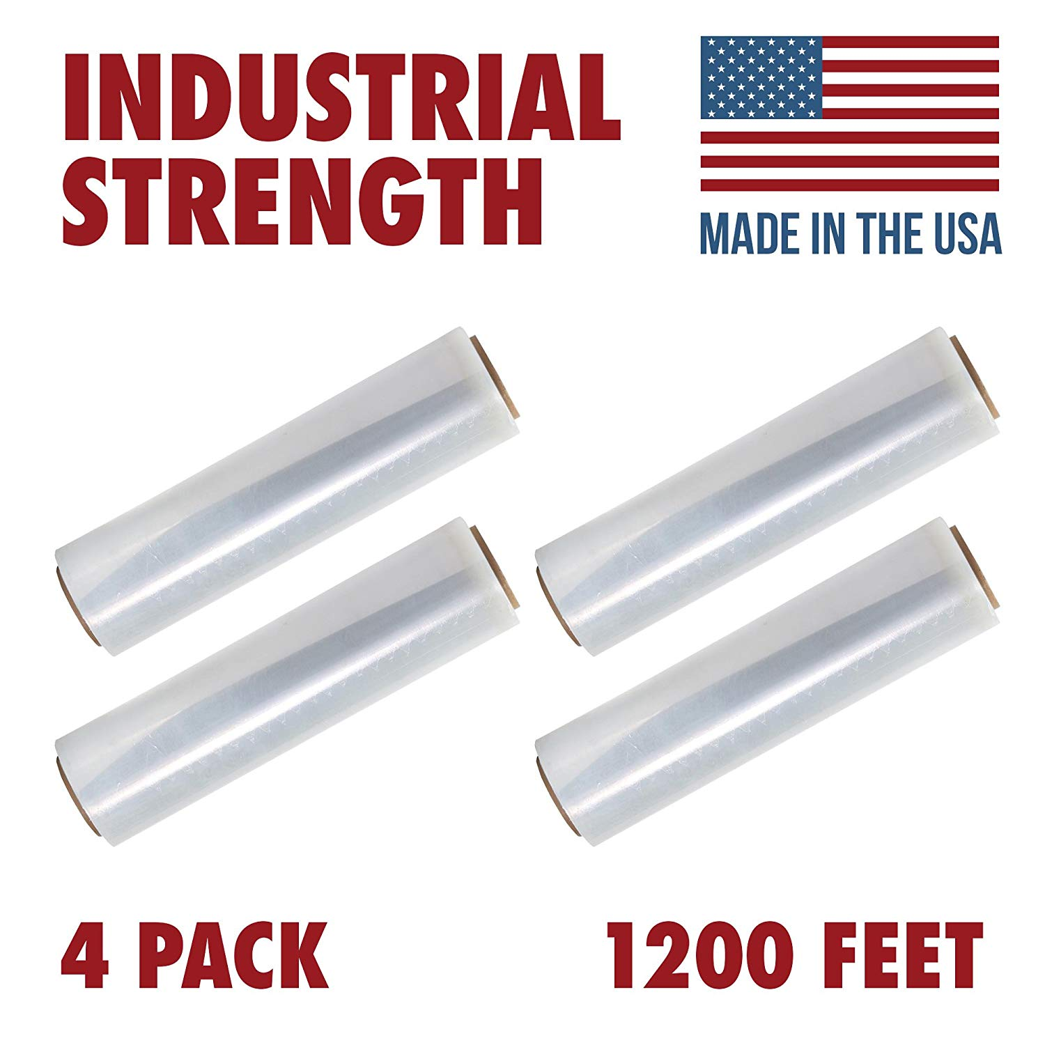 Stretch Film Wrap 60 Gauge Packing Shrink Wrap Roll 18 Inch x 2000 Feet 4 Pack Clear