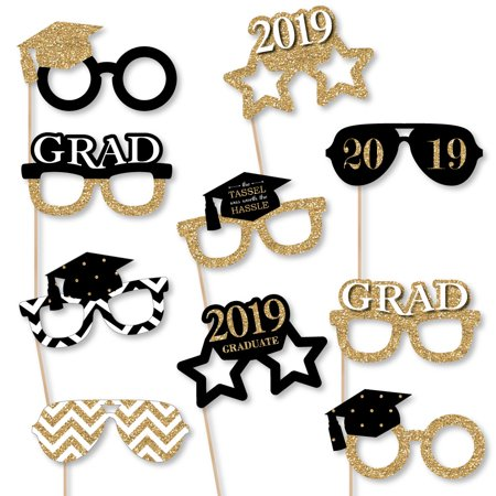 Glass Tassels (Gold Glasses - Tassel Worth The Hassle - 2019 Paper Card Stock Graduation Party Photo Booth Props Kit - 10)