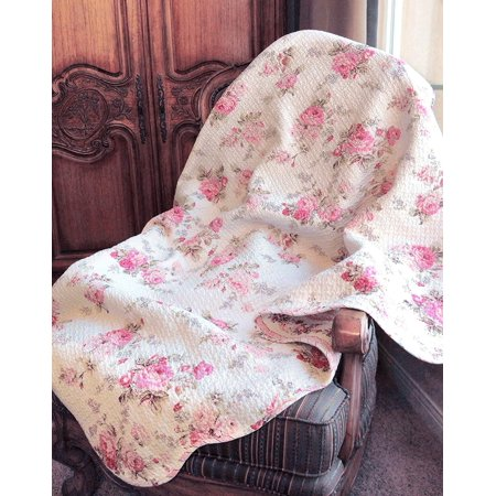Cozy Line Chic Shabby Spring Rose 100% Cotton Quilted Throw Blanket Quilted Throw Blanket