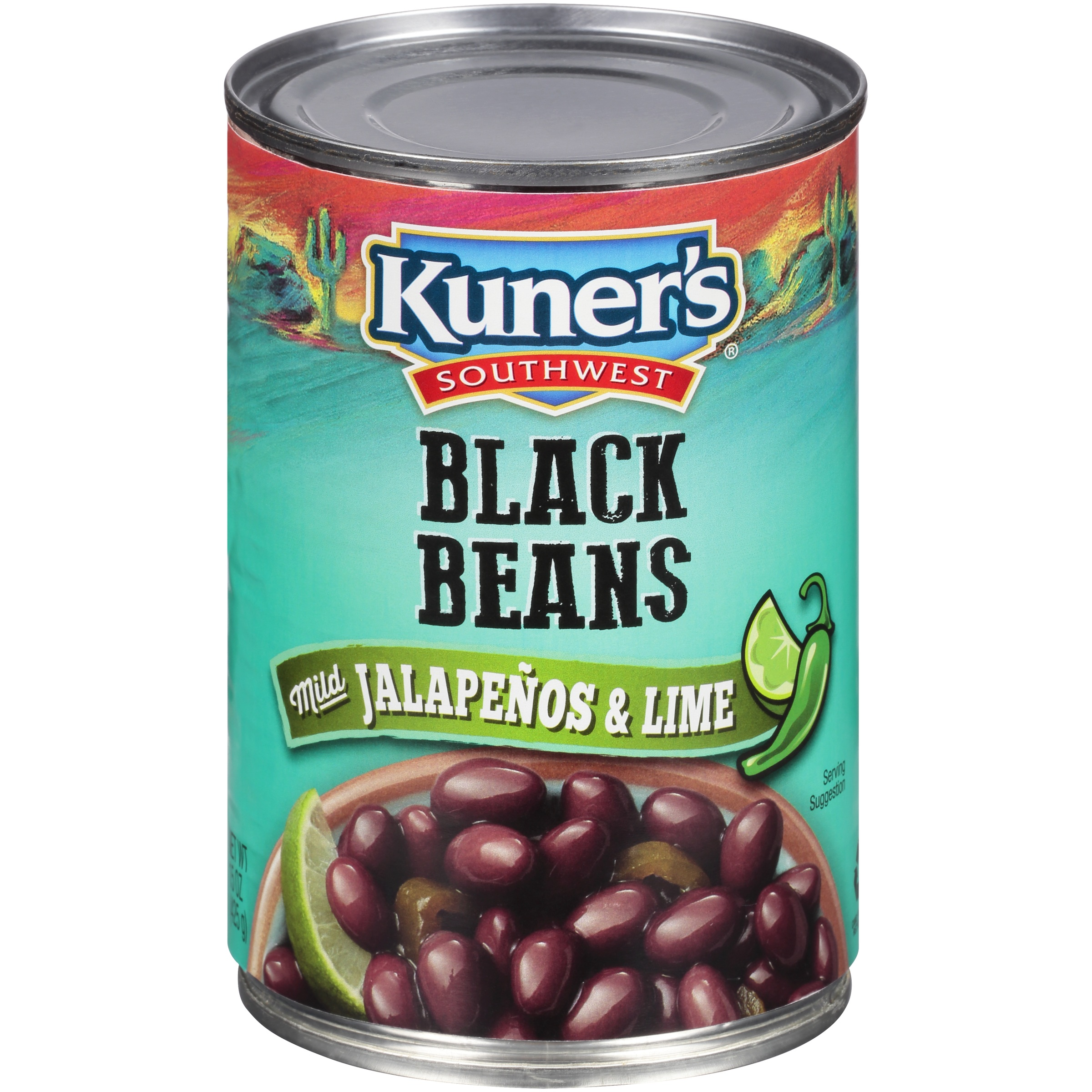 (6 Pack) Kuner's® Southwest Black Beans with Mild Jalapeños & Lime 15 oz. Can