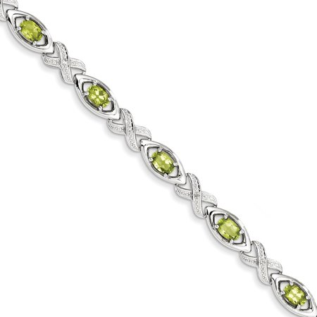 Gemaffair 925 Sterling Silver Peridot And Diamond X O Bracelet