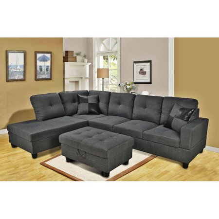 Beverly Fine Furniture 3 Piece Gray Microfiber Sectional Sofa