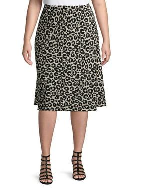 Terra & Sky Women's Plus Size Leopard Slip Skirt